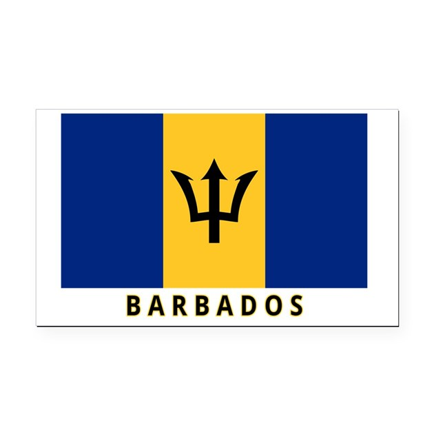 Barbados flag labeled 35iw rectangle car magnet by admin for Barbados flag coloring page