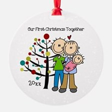 Custom Dad, Mom, Baby Girl Round Ornament