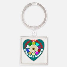 Autism flower and heart Square Keychain