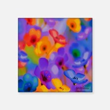 "Art Whitaker Flowers 10 10  Square Sticker 3"" x 3"""