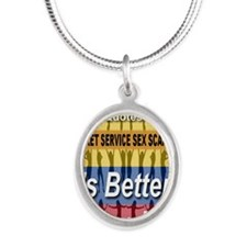 Its_better_in_columbia Silver Oval Necklace