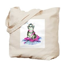 Pink Ribbon Kitty Tote Bag