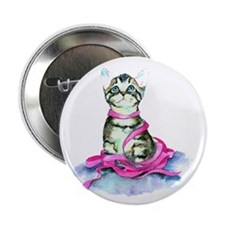 "Pink Ribbon Kitty 2.25"" Button (10 pack)"