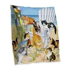 Kittens At The Beach Burlap Throw Pillow