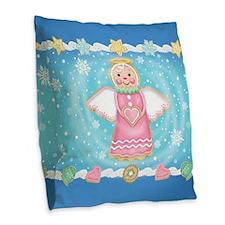 Angel Cookie Burlap Throw Pillow
