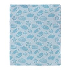 Blue seashells pattern Throw Blanket