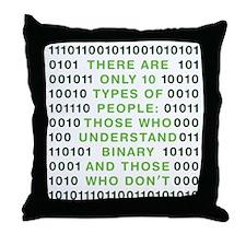 binary-01b-green-cp Throw Pillow