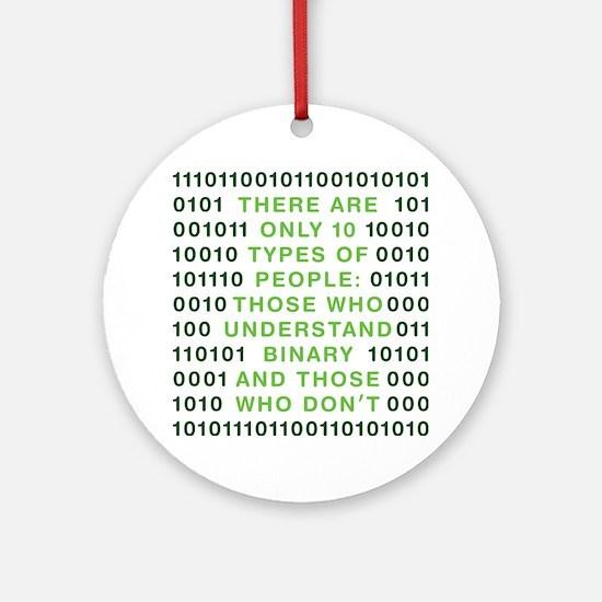 binary-01b-green-cp Round Ornament