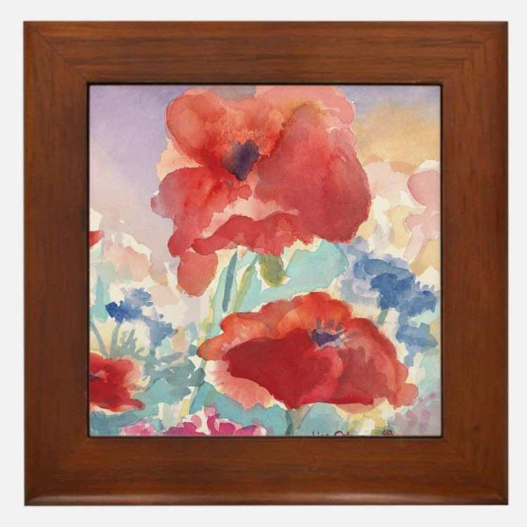 32SQSMLG GUIDEred poppies_w3 sig Framed Tile