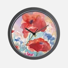32SQSMLG GUIDEred poppies_w3 sig Wall Clock