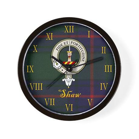 Shaw Clan Crest / Tartan Wall Clock