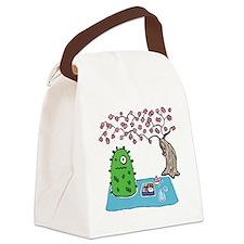 Plant Monster Enjoys Spring Picni Canvas Lunch Bag
