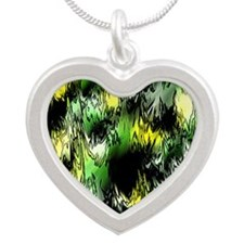 green comic Silver Heart Necklace