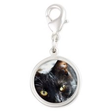 Sleek Black Cat Silver Round Charm