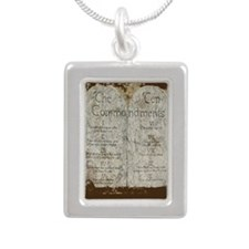 10 Commandments Journal Silver Portrait Necklace