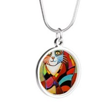 catColorsNew Silver Round Necklace