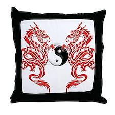 Yin Yang Dragons Throw Pillow