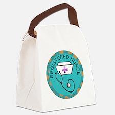 NECKLACE REGISTERED NURSE TEAL Canvas Lunch Bag