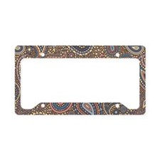 Beige Rose Mosaic Paisley License Plate Holder