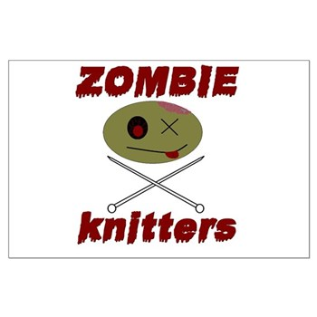 zombie knitter Large Poster