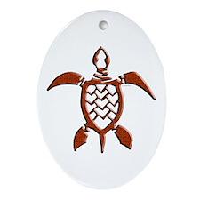 Tribal Sea Turtles Oval Ornament