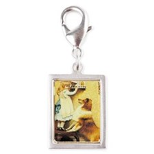 Girl and Dog Silver Portrait Charm
