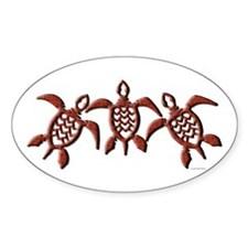 Tribal Sea Turtles Oval Bumper Stickers