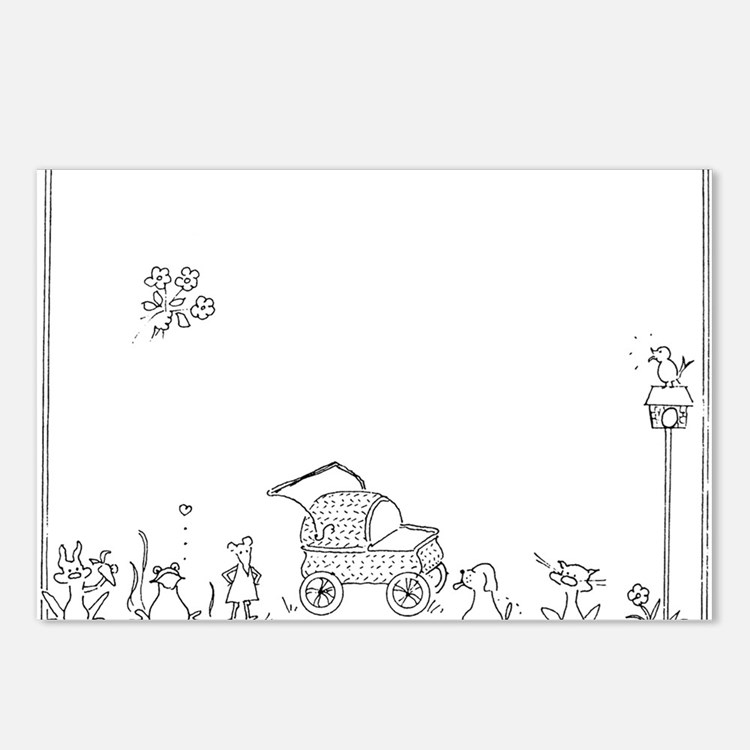 Baby Carriage/Animals Postcards (Package of 8)