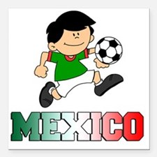 "Mexican Soccer Football Square Car Magnet 3"" x 3"""