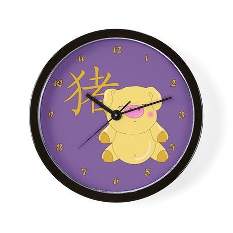 Golden Pig Wall Clock