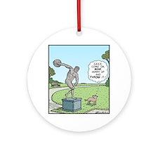 Dog Discus thrower Round Ornament