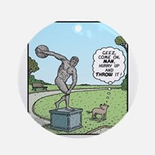 Dog Discus thrower Round Ornament