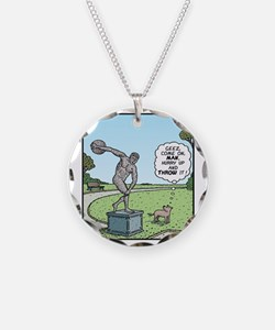 Dog Discus thrower Necklace Circle Charm