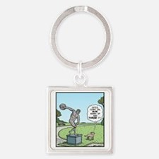 Dog Discus thrower Square Keychain