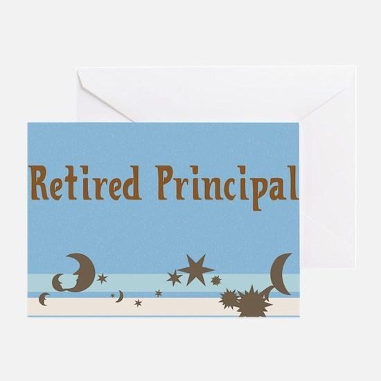 retired principal blanket blue brown Greeting Card