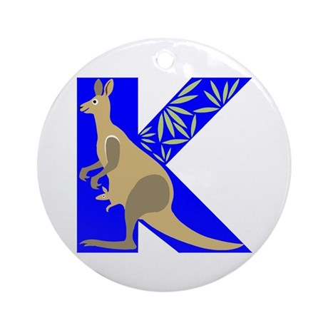 K is for Kangaroo Ornament (Round)