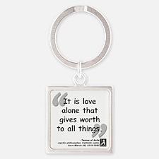 Saint Teresa Love Quote Square Keychain