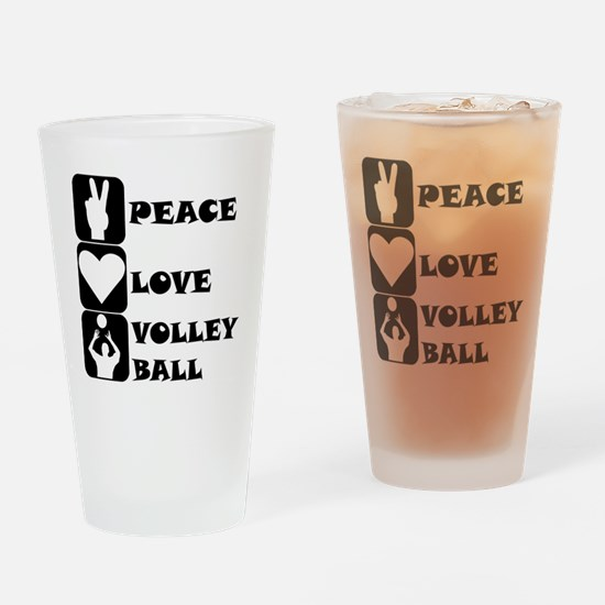 Peace Love Volleyball Drinking Glass