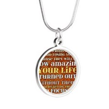 one day poster Silver Round Necklace