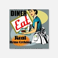 "mOMS-DINER-9X12-framed-prin Square Sticker 3"" x 3"""