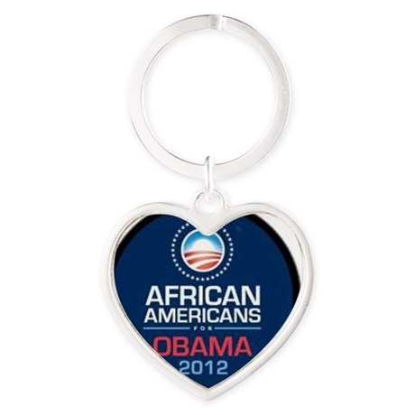 African Americans for Obama Heart Keychain