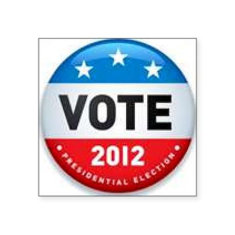 """Vote 2012 Square Sticker 3"""" x 3"""""""