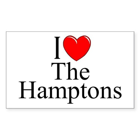 """I Love The Hamptons"" Rectangle Sticker"