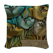 blue abstract floral sc Woven Throw Pillow