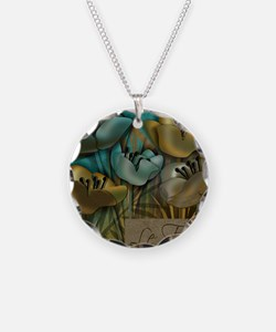 blue abstract floral sc Necklace