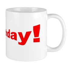 Happy Birthday Red Cool Fonts Designer Mug