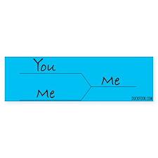 """""""You vs. Me"""" March Madness-style Bumper Bumper Sticker"""