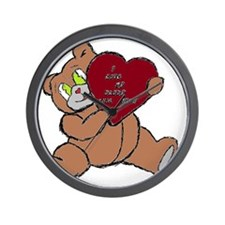 BEAR DADDY BROWN RED Wall Clock