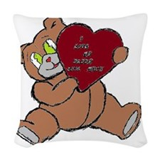 BEAR DADDY BROWN RED Woven Throw Pillow