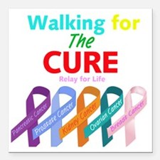 """Walking for the CURE (re Square Car Magnet 3"""" x 3"""""""